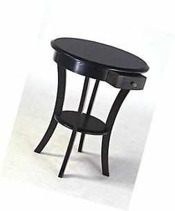 Frenchi Home Furnishing Round Table with Drawer and Shelf, E