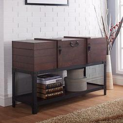 Furniture of America Zaele Storage Trunk Console Table, Vint