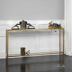 """Geometric Console Table Antique Gold 60"""" Metal Glass Top Iro"""