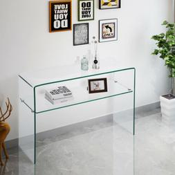 Contemporary Clear Glass Console Table Sideboards Cupboard B