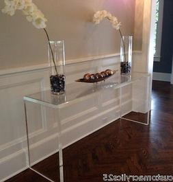 "Handcrafted Acrylic Console table, 1.5"" thick, straight legs"
