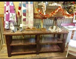 Handcrafted Solid Wood Console/Book Shelf Sofa Table Rustic