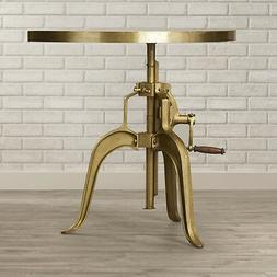 Horchow Gold Console Table DemiLune Industrial Adjustable Vi