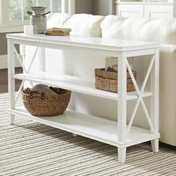 JET34552  WHITE WOOD X SIDE CONSOLE TABLE