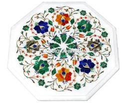 Marble Octagon Center Console Table Top Mosaic Inlaid Elegan