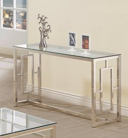 Modern Console Table Glass Top Elegant Sofa Accent Silver Fi