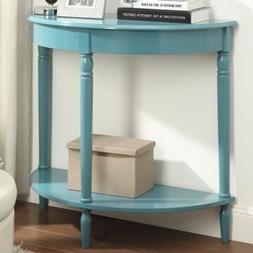 NEW Blue Console End Table Night Stand Wood Half Circle Hall