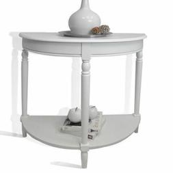 NEW White Console End Table Night Stand Wood Half Circle Hal