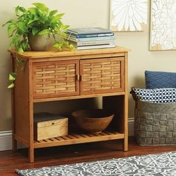 Natural Bamboo Basket Weave Console Table w 2 Shelves Indoor