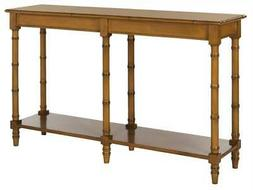 Noam Coastal Bamboo Console Table in Brown Finish