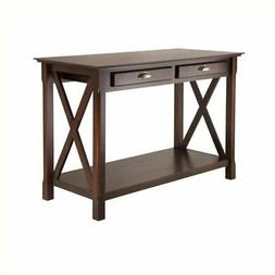 Pemberly Row Console Table with 2 Drawers in Cappuccino Fini