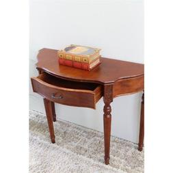 Pemberly Row Half Moon Console Table in Walnut Stain