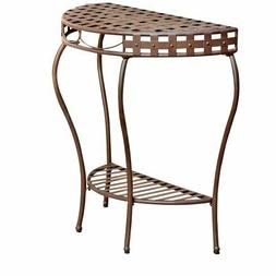 Pemberly Row Iron Patio Console Table in Matte Brown