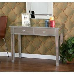 Pemberly Row Mirrored 2 Drawer Console Table in Silver Wood