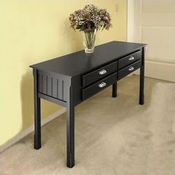 Pemberly Row Solid Wood Console/Sofa Table in Black