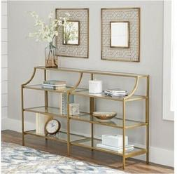 Slim Console Table Gold Metal Glass Display Shelves Living R