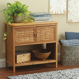 Small Console Table Storage Cabinet Bamboo Linen Hallway Ent