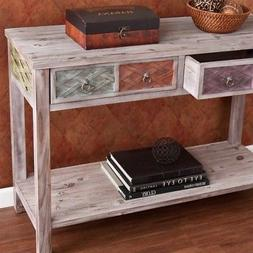 Southern Enterprises Dharma Console Table, White Washed Weat