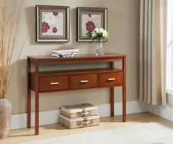 Walnut Wood Occasional Entryway Console Sofa Table With Stor