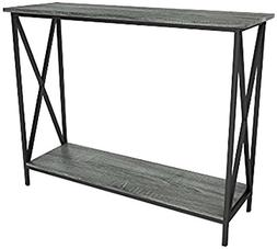 Weathered Grey Oak Finish 3-Tier Metal X-Design Occasional C