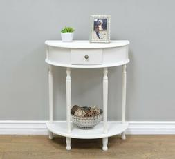 White Console End Table Night Stand Wooden D Half Circle Hal