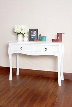White Finish Curved Legs Accent Console Sofa Table with Two