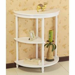 White Half Moon Console Table Living Room Accent Display Sid