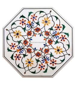 White Marble Console Table Top Inlay Mosaic Floral Fine Art