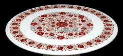 White Marble Round Console End Table Top Carnelian Inlay Sto