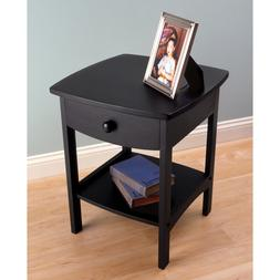 Winsome Beech Wood Curved 1-Drawer Nightstand / End Table Fo