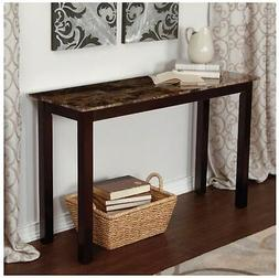 Wood Console Table Faux Marble Top Sofa Hall Entryway Espres