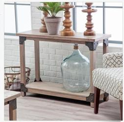 Wood Metal Rustic Driftwood Style Console Sofa Table Shelf K