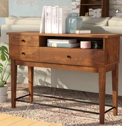 Wooden Console Table Two Drawers One Shelf Manufactured Wood