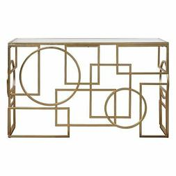 Abstract Geometric Shapes Open Gold Console Table | Mid Cent