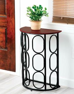 Half Moon End Table Console Metal Wood Top Geometric Accent