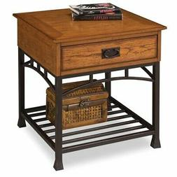 End Accent Table Night Stand w/ Storage Drawer With Distress