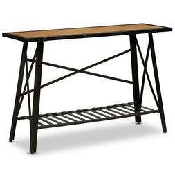 Baxton Studio Allaire Wood and Metal Console Table in Dark B