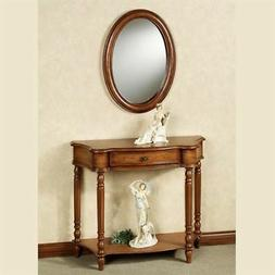 Amber Manor Console Table and Wall Mirror Set Honey Maple Se