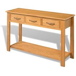 Festnight Large Antique Console Table with Drawer, Solid Oak