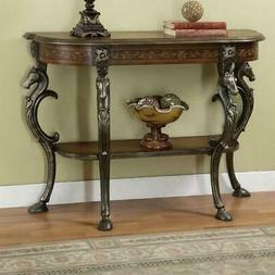 Antique Entry Accent Console Sofa Table Carved Wood Horse He