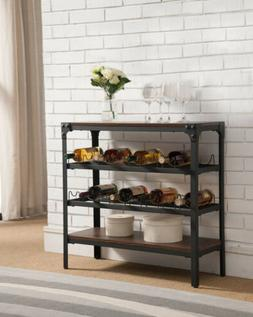 Kings Brand Furniture Antique Finish Wine Rack Stand Console