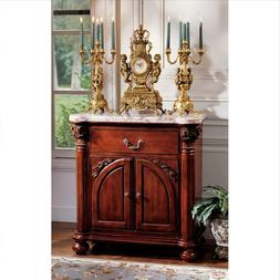 "Antique Hand-Carved Mahogany Cremona 37"" Console Table and N"