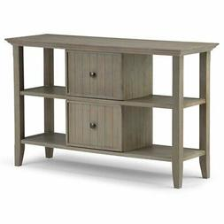 Simpli Home Acadian Console Sofa Table, Distressed Grey
