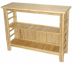 Bamboo 54 Fancy Console Table with Shelf, Brown