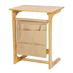 Bamboo Wood TV Tray with Removable Storage Bag, Portable Sof