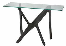 Cortesi Home Bekkon Glass Console Table with Solid Wood Legs