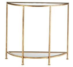 Bella Demilune Gold Leaf Metal and Glass Console Table
