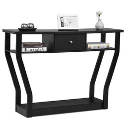 black accent console table modern sofa entryway