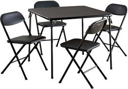 Table And Chair Set Black Card Game Party 5-Piece Folding Vi