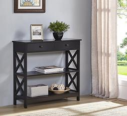 Black Finish 3-Tier Console Sofa Entry Table with Shelf/Two
